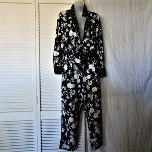 Zara Pants - Zara Basic black white tie waist jumpsuit L